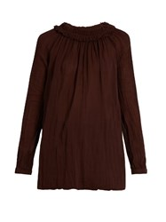 Raquel Allegra Shirred Collar Long Sleeved Blouse Burgundy
