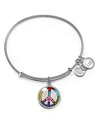 Alex And Ani Art Infusion Romero Britto Peace Sign Expandable Wire Bangle Silver