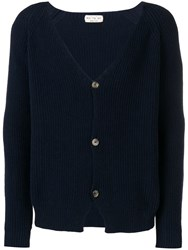 Ma'ry'ya Ribbed V Neck Cardigan Blue