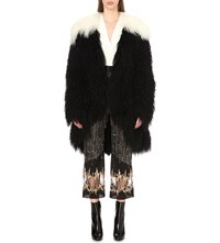 Rodarte Monochrome Mongolian Shearling Jacket Black And White
