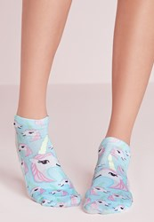 Missguided Glow In The Dark Unicorn Ankle Socks