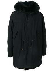 Mr And Mrs Italy Classic Fur Lined Parka Men Cotton Fox Fur Leather Racoon Fur S Black