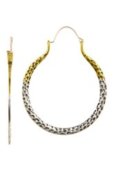 Natasha Accessories Jessi Two Tone Hoop Earrings Gold Silver