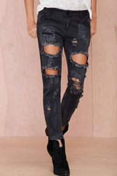 Nasty Gal One Teaspoon Trashed Freebird Jeans Black