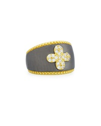 Freida Rothman Pave Clover Beaded Band Ring Women's