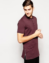 Asos Longline Polo Shirt In Jersey With Side Zips Burgundy