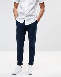 Pull And Bear Pullandbear Skinny Fit Chinos In Navy Navy Blue
