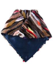 Liska Mink Fur Striped Scarf Multicolour
