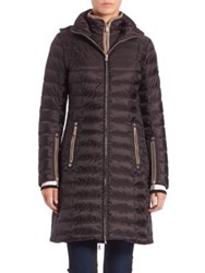 Bogner Lilia Long Puffer Coat Black Taupe Metallic