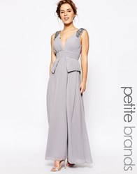 Little Mistress Petite Embellished Plunge Front Peplum Waist Maxi Dress Grey