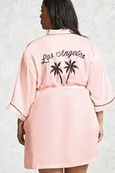 Forever 21 Plus Size Los Angeles Robe Pink Black