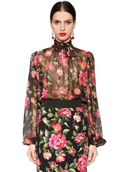 Dolce And Gabbana Floral Print Sheer Silk Chiffon Blouse