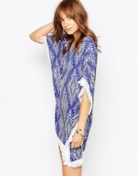 Pepe Jeans Fringe Detail Kaftan Dress With Print Klein Blue