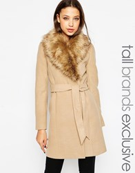 New Look Tall Belted Coat With Faux Fur Collar Camel