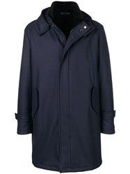 Manzoni 24 Hooded Single Breasted Coat Blue