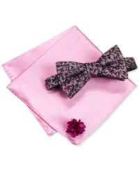 Alfani Men's Thompson Geo Bow Tie And Solid Pocket Square Set Only At Macy's Pink