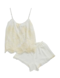 Flora Nikrooz 2 Piece Belle Lace Cami And Shorts Lingerie Set Ivory