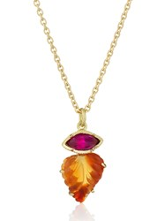 Brooke Gregson Maya Leaf Fire Opal Pink Sapphire Necklace Orange