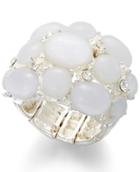 Style And Co. Silver Tone White Bubble Ring