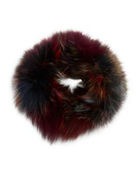 Adrienne Landau Silver Fox Fur Headband Dark Multi