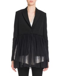 Givenchy Pleated Chiffon One Button Jacket Black