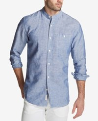 Weatherproof Vintage Men's Band Collar Shirt Blue