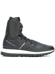 Y 3 Lace Up Hi Tops Black