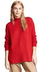 Ryan Roche Crew Neck Oversized Cashmere Sweater Red