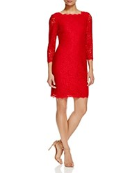 Adrianna Papell Three Quarter Sleeve Lace Dress Red