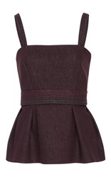 By. Bonnie Young Peplum Bustier Burgundy