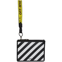 Off White Black Diagonal Double Flat Pouch