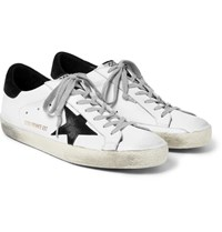 Golden Goose Deluxe Brand Superstar Distressed Leather And Suede Sneakers White