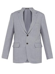 Dunhill Single Breasted Wool Blend Blazer Blue