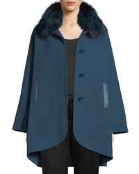 Elie Tahari Howie Fox Fur Collar Button Front Jacket Blue Mineral