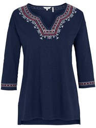 Fat Face Bantham Embroidered Top Navy