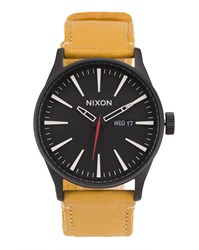 Nixon Sentry Watch With Camel Coloured Leather Strap And Black Face