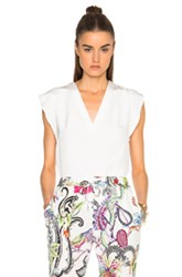 Etro Sleeveless Solid Silk Top In White