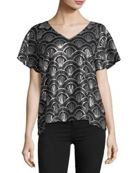 Tahari By Arthur S. Levine Art Deco Sequined Blouse Black Silver