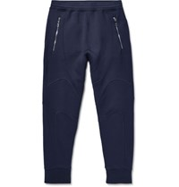 Neil Barrett Slim Fit Bonded Stretch Jersey Sweatpants Navy