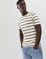 Selected Homme T Shirt With Multi Texture Stripe White