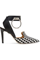 Monse Embellished Leather And Gingham Twill Pumps Black