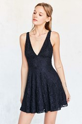Kimchi And Blue Plunging Lace Fit Flare Mini Dress Navy