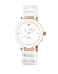 Anne Klein Ladies Rose Gold Tone Ceramic And Diamond Watch White