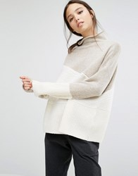 French Connection Patchwork Slouch Knit Jumper Classic Cream Multi