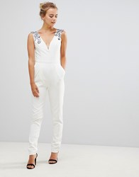 Little Mistress Tailored Jumpsuit With Embellished Detail Cream