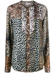 Pierre Louis Mascia Animal Print Blouse Brown