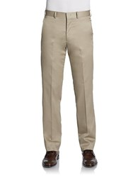Saks Fifth Avenue Red Straight Leg Cotton Trousers Slim Fit Tan