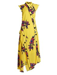 Proenza Schouler Lily Print Asymmetric Silk Crepe Dress Yellow Multi