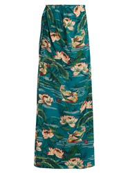 Stella Jean Piccola Silk Crepe De Chine Maxi Skirt Green Multi
