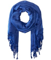 Love Quotes Linen Tassel Scarf Deep Scarves Blue